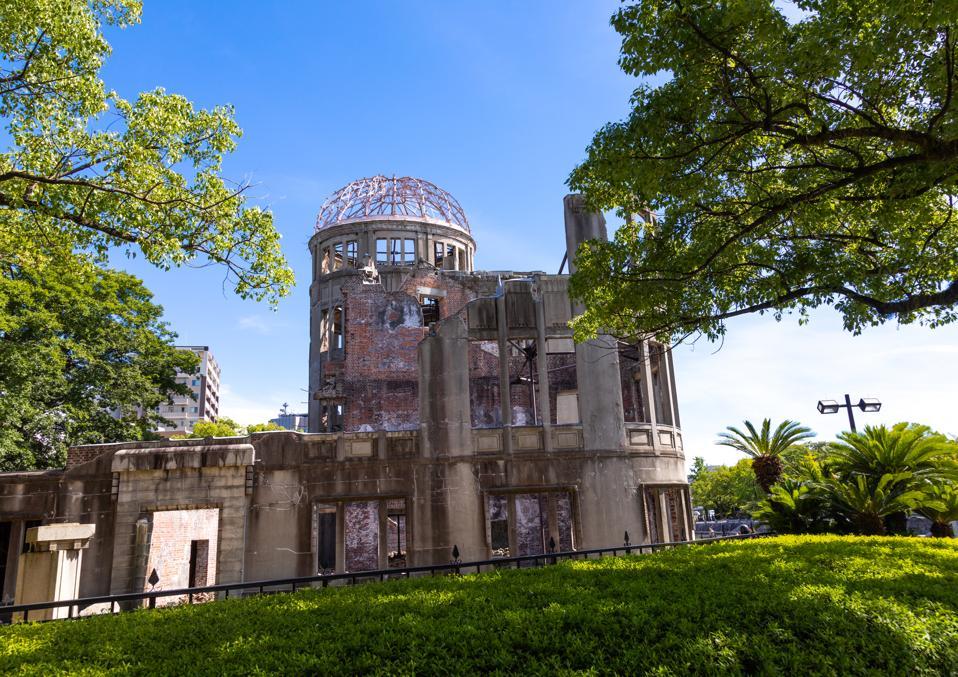 The Genbaku dome also known as the atomic bomb dome in Hiroshima peace memorial park, Chugoku region, Hiroshima, Japan...
