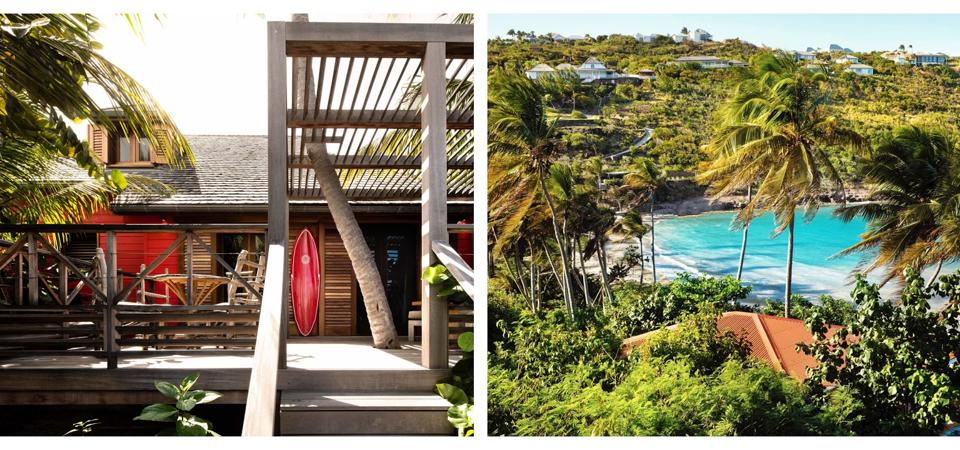 An all-wooden villa at Manapany Hotel and the view from a villa.