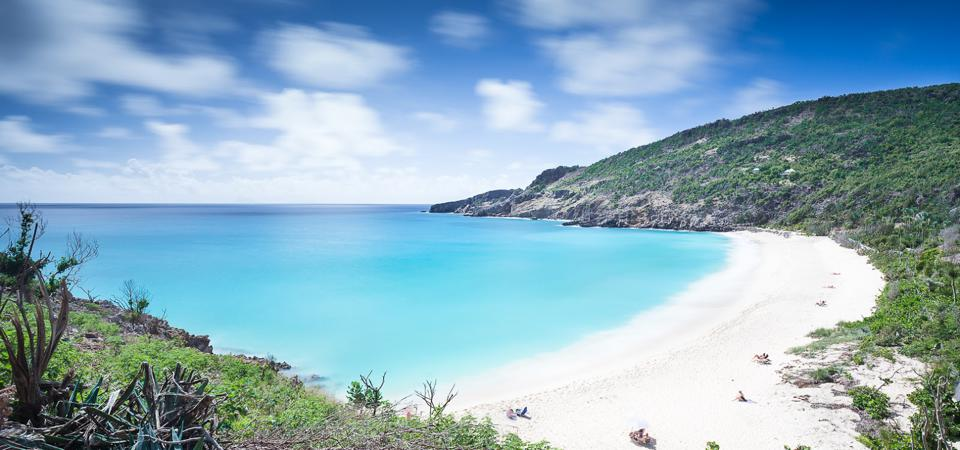 The white sands and cerulean waters of Gouverneur Beach, St. Barts.
