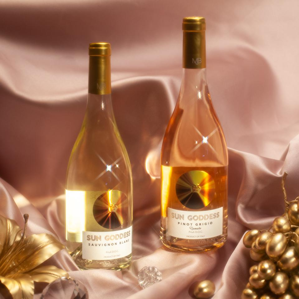 Two bottles of sauvignon blanc and pinot grigio under the name of Sun Goddess, Mary J Blige's collaboration with Fantinel Winery.