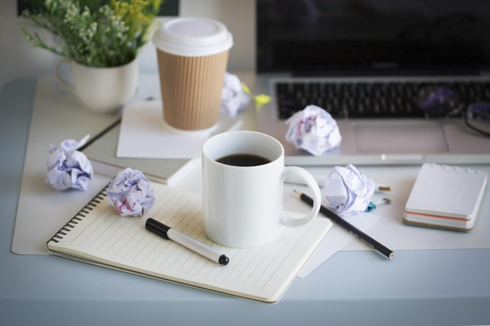Office coffee mug text space image.