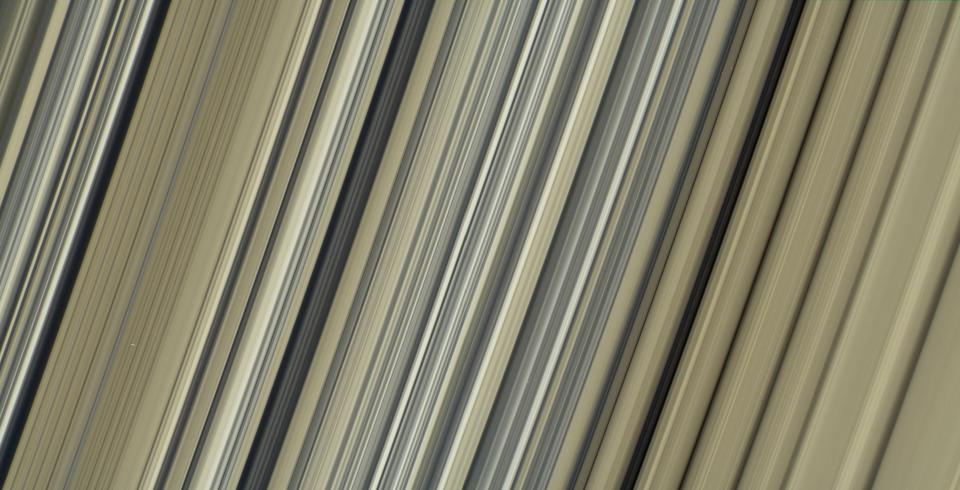 From Cassini, these are the highest-resolution color images of any part of Saturn's rings, to date, showing a portion of the inner-central part of the planet's B Ring.