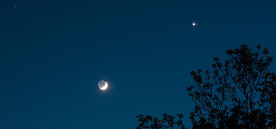 Is there anything more beautiful than the sight of a crescent Moon and a bright planet?