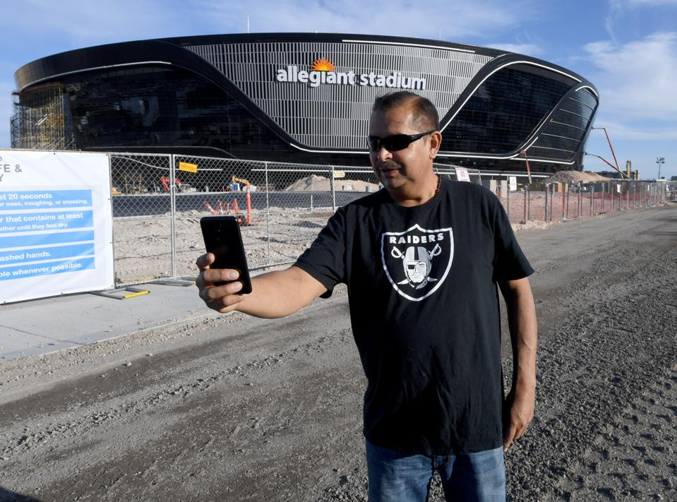 Las Vegas Raiders fan outside Allegiant Stadium.