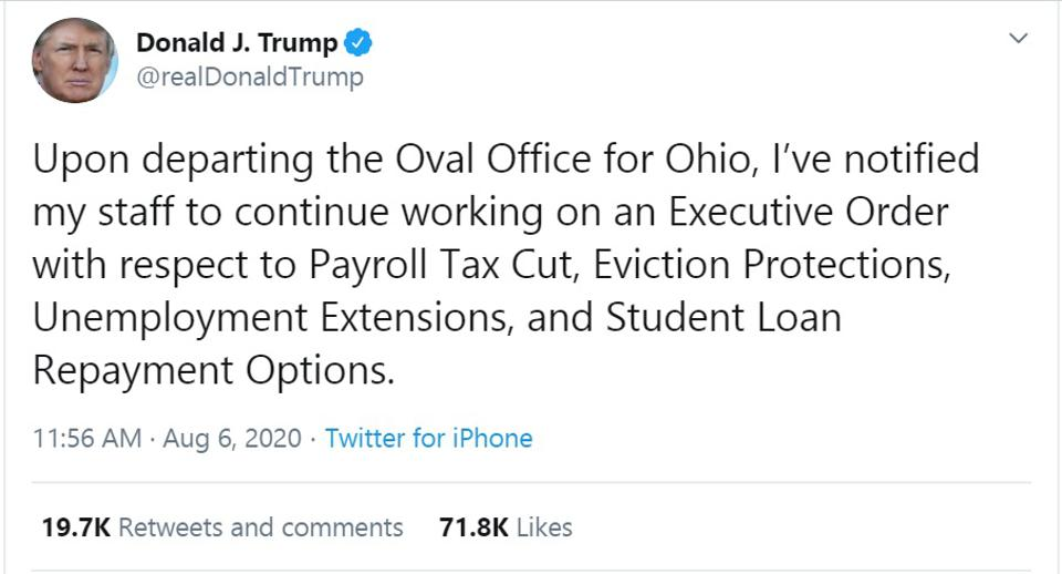 Trump tuiteó sobre préstamos estudiantiles, paquete de estímulo, beneficios de desempleo, desalojos