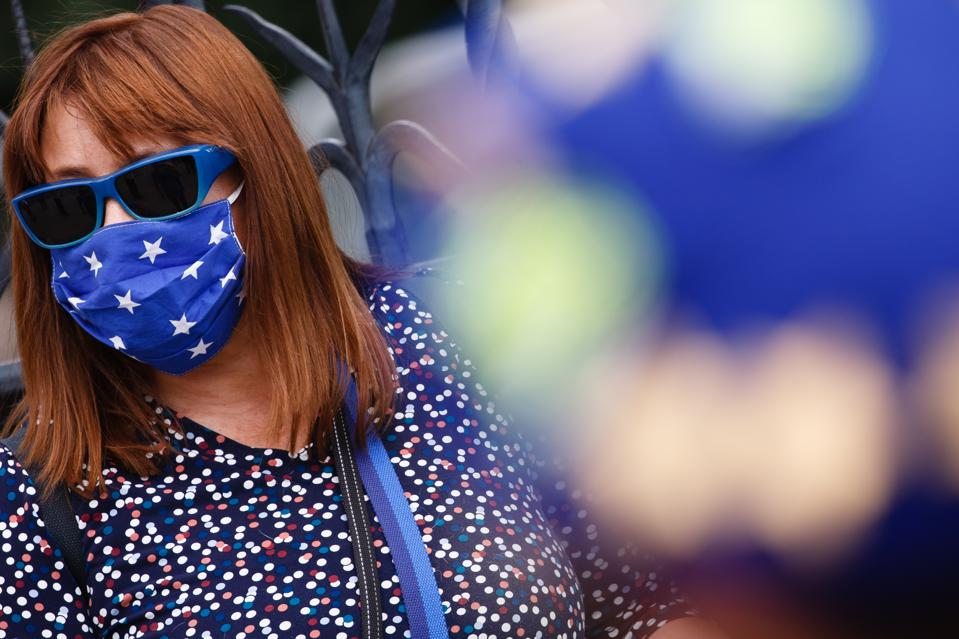 Anti-Brexit Activists Protest In London UK wearing an EU face mask