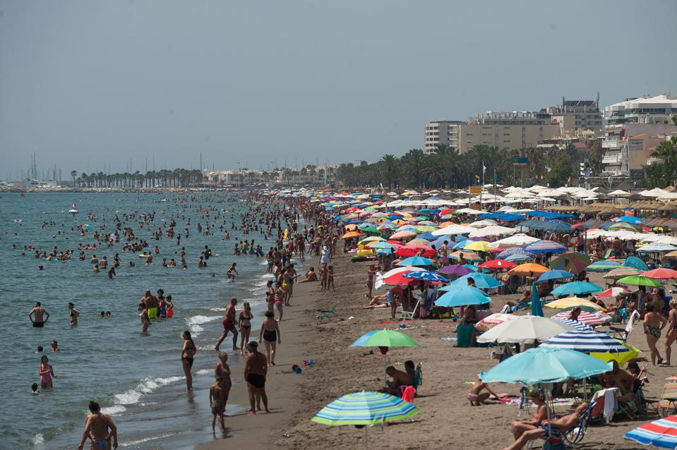 British and UK holidaymakers on the beaches of the Costa del Sol Spain