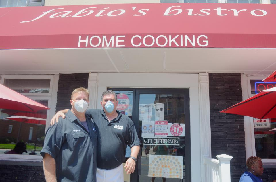 Greg Kowalczyk and Ronnie Vojka of Fabio's Bistro benefited from meals ordered by customers and donated to front-line workers during the height of the COVID-19 pandemic. Those donations have now tailed off.