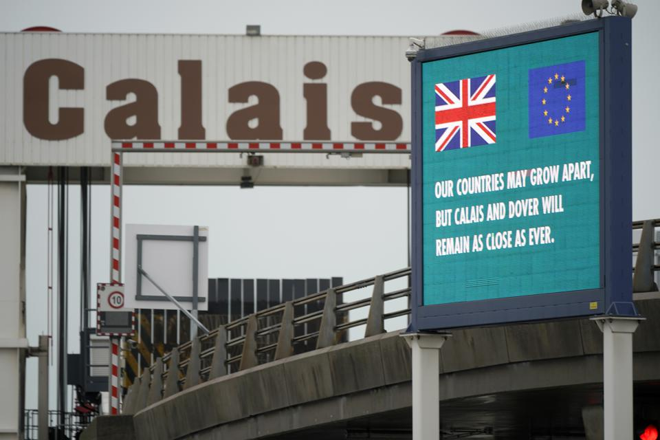 Protest At Calais France As The UK Enters Brexit Transition Period in 2020