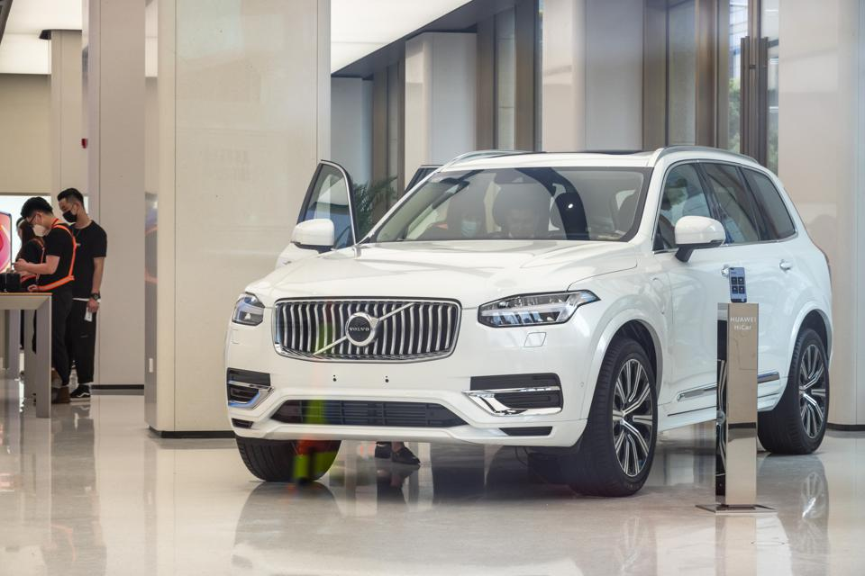 A Volvo XC90. The plug-in hybrid can get up to 55 miles per gallon.