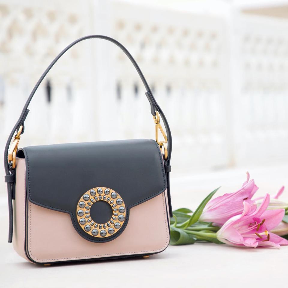 Aranyani's Mini Top Handle Bag in Dusty Pink Black Combo with Hematite Stones