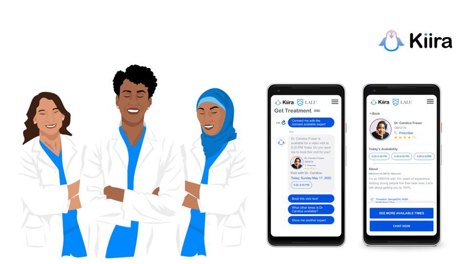 Image of the app Kiira Health and three doctors.