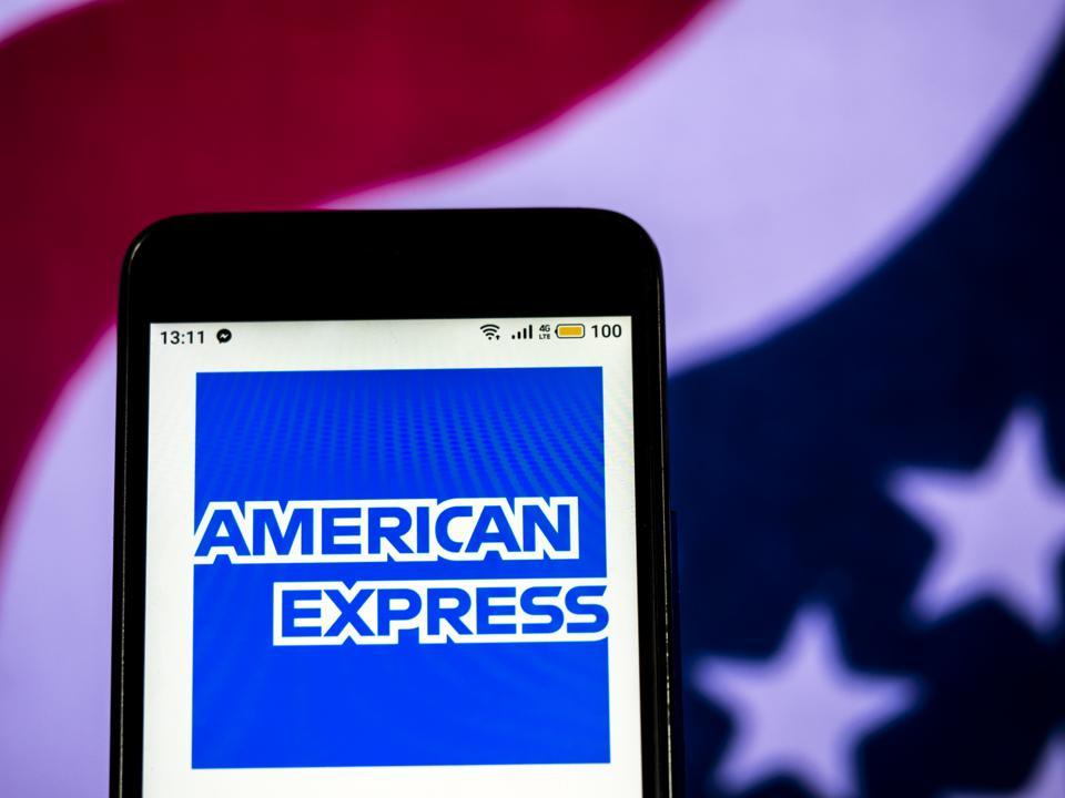 American Express Financial services company  logo seen