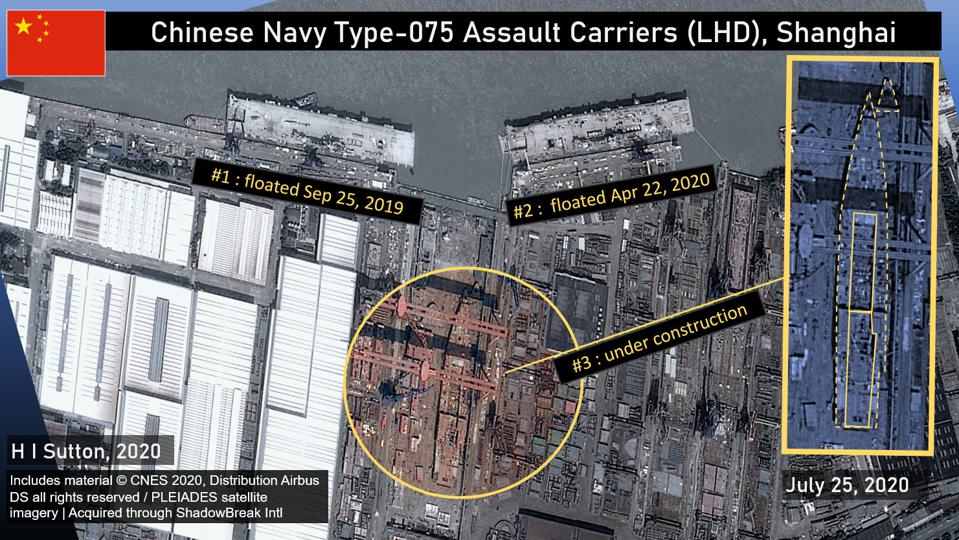 3 Chinese Navy (PLAN) Assault Carriers in a satellite image of Shanghai