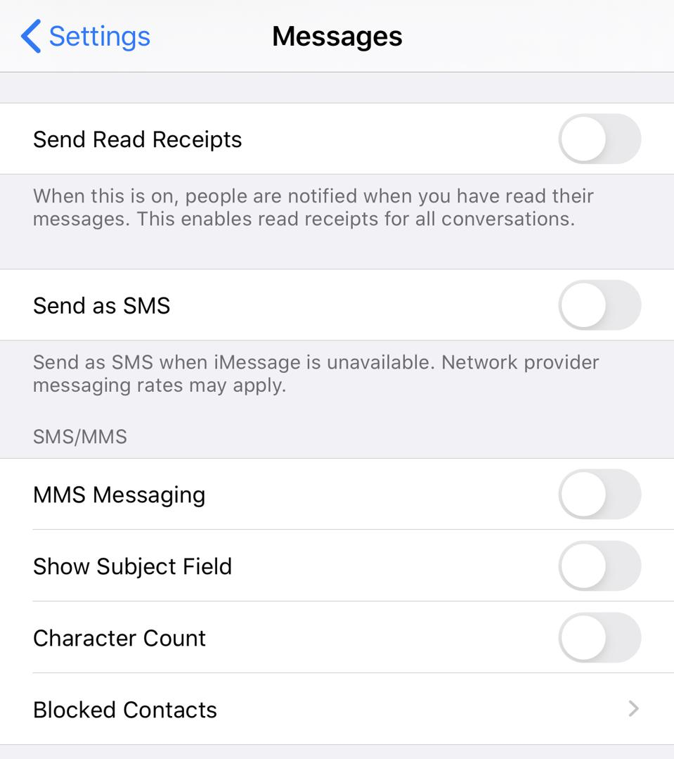 How to disable SMS within iMessage
