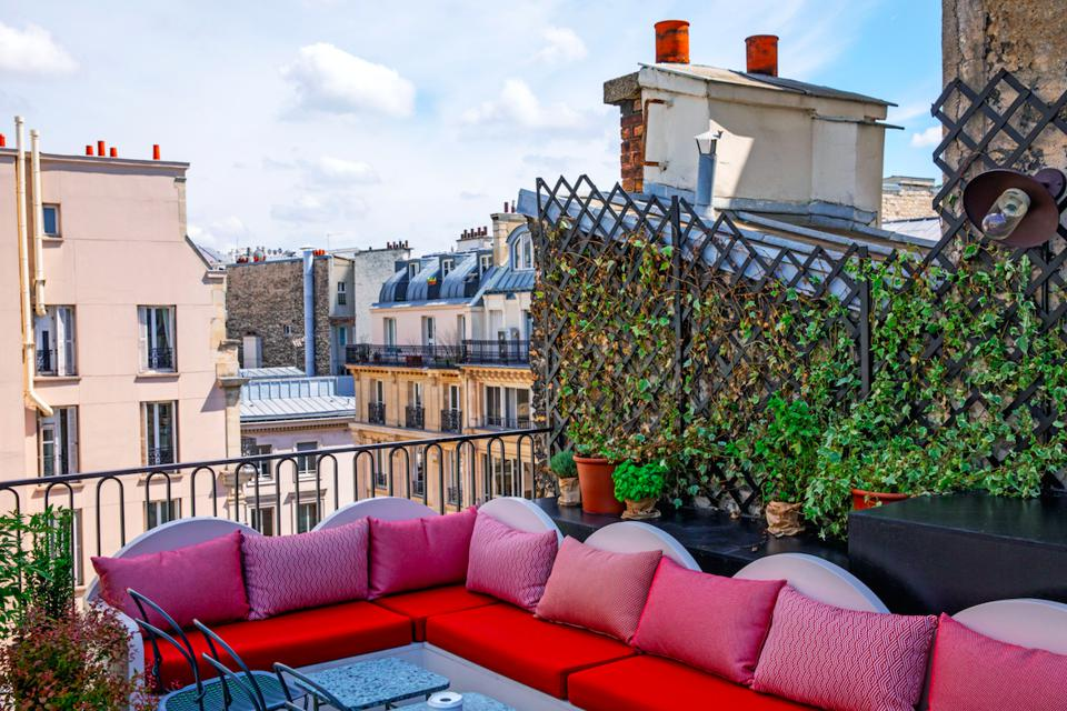 The Shed rooftop bar at the Hotel des Grands Boulevards in Paris.