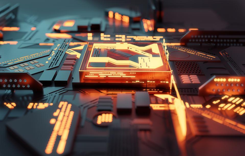Computer Glowing Futuristic CPU Processor Concept