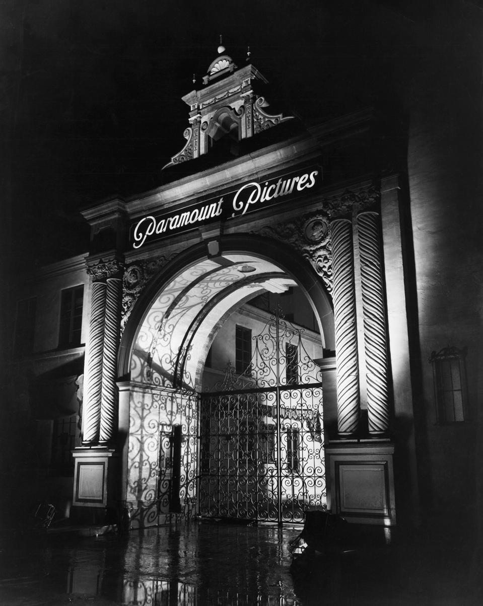 Illuminated Main Gate of Paramount Pictures Studio