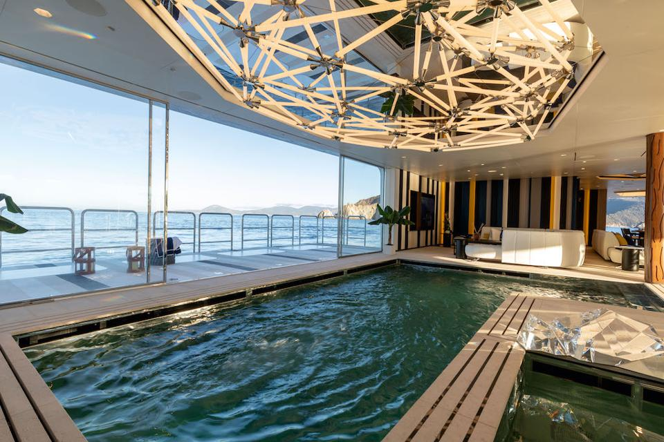 350-foot long superyachts like Luminosity are large enough to accomodate an INDOOR pool!