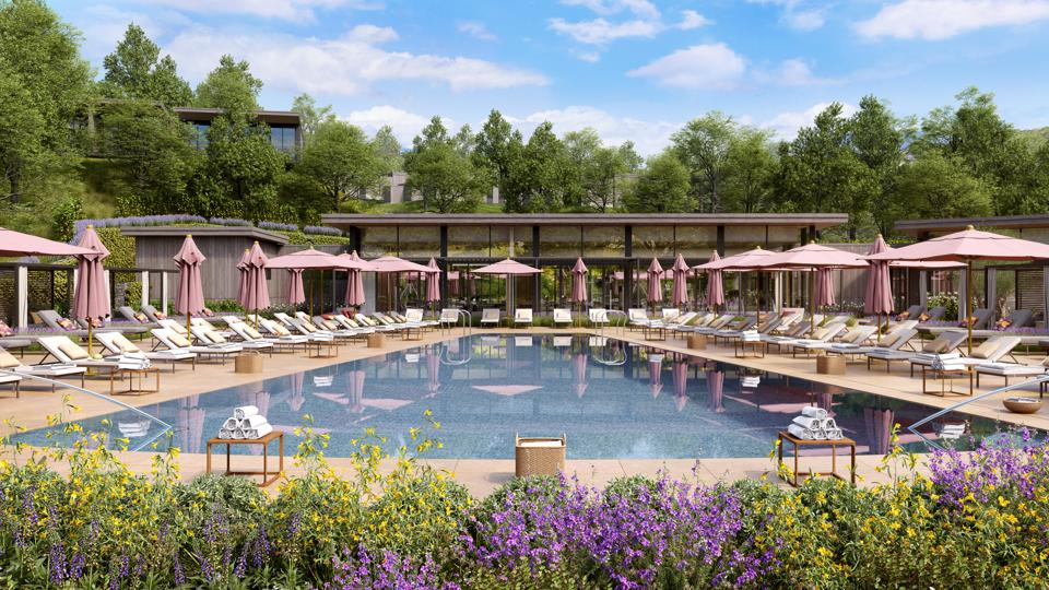Montage Healdsburg's zero-edge swimming pool offers spectacular views of the vineyards.