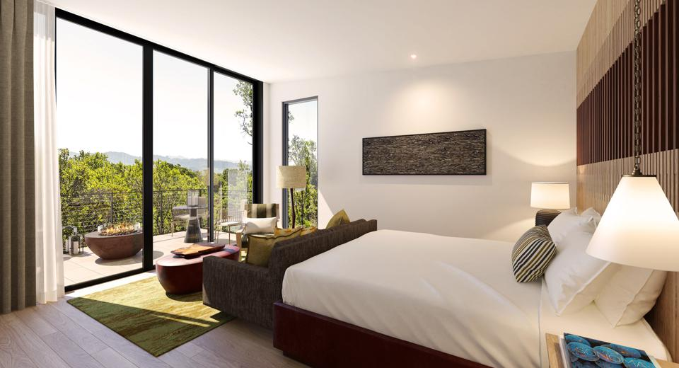 Montage Healdsburg's 130 bungalow-style guest rooms will be nestled among groves of oak trees and vine-covered hills. Each guest room will be equipped with a private outdoor living space complete with fire pits and daybeds, lounges and chairs.