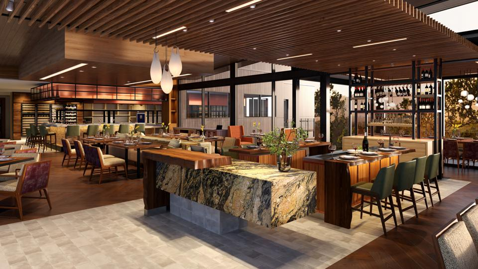 Hazel Hill will offer French-influenced cuisine with a California flair in an immersive nature-inspired experience. It will also offer an interactive expo kitchen, an exhibit pantry, a wine bar and an al fresco dining area.