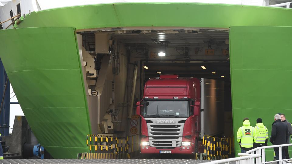 Truck disembarks a Tallink ferry in the port of Sassnitz-Mukran.