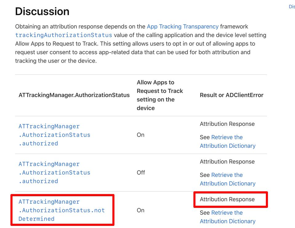 A screenshot of Apple's advertising documentation, showing that attribution is on even when a user's IDFA status has not been explicitly set.