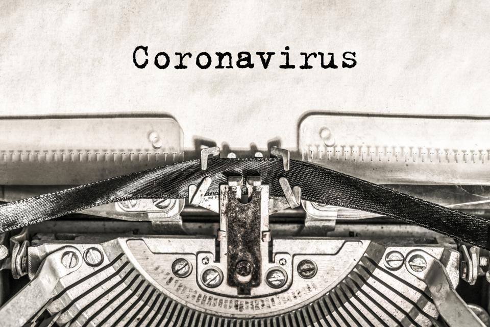 Coronavirus on a typewriter type text on old vintage paper.