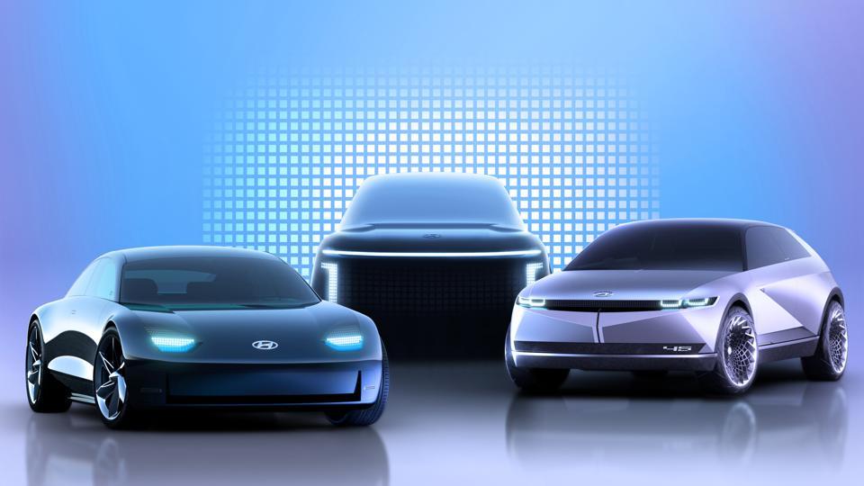 Teaser renderings of the all-electric Hyundai Ioniq Family, with the Ioniq 5 CUV, Ioniq 6 sedan and Ioniq 7 SUV.