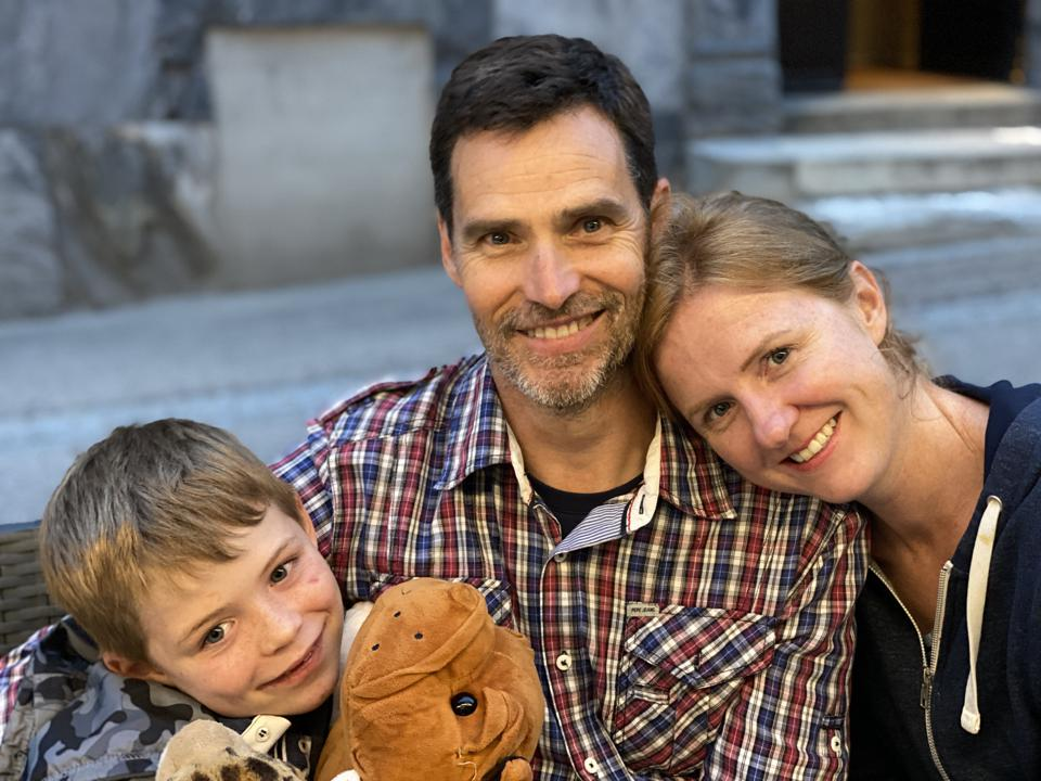 Brendan and Mary and their son Daniel in Barèges
