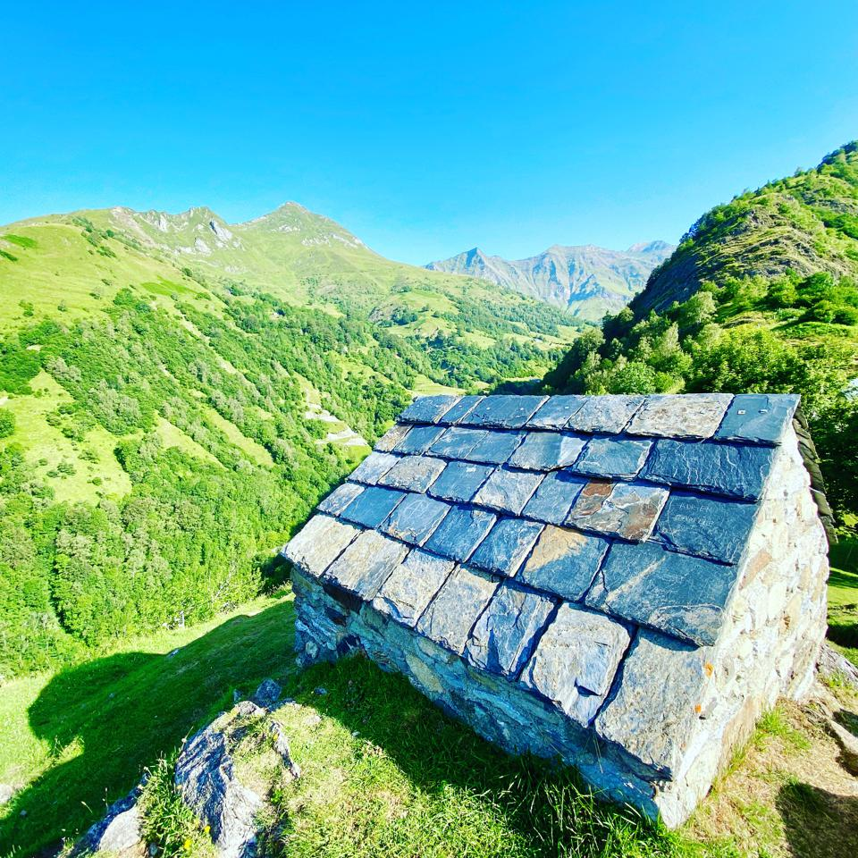 Ancient stone roofed shepherd's hut in the Pyrenees