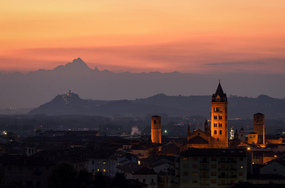 Alba at Sunset in Piedmont (Piemonte), Italy