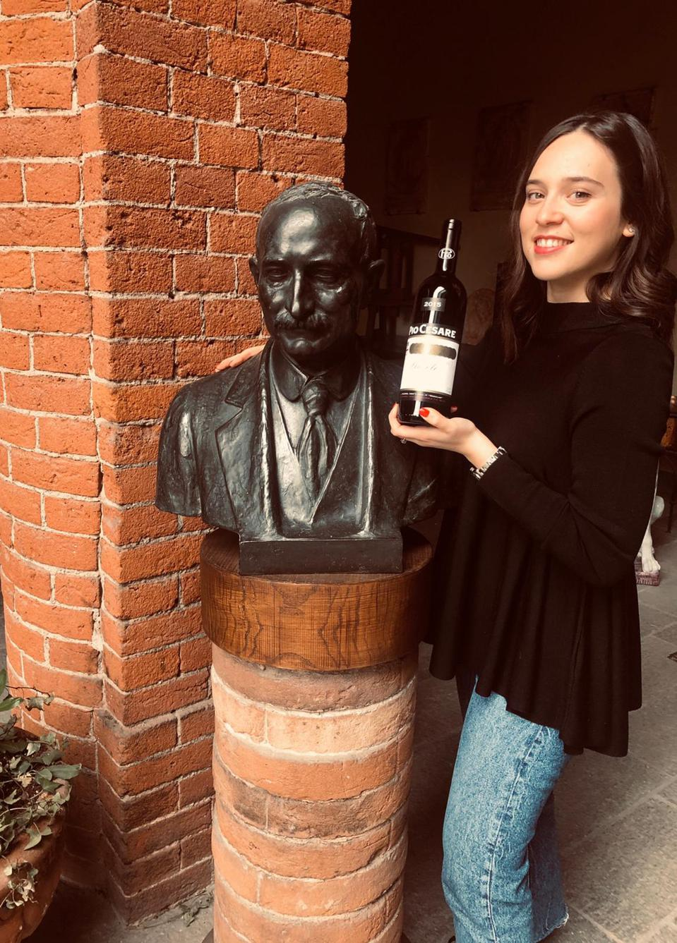 Federica Boffa with a Bust of her Great-Great Grandfather Cesare Pio