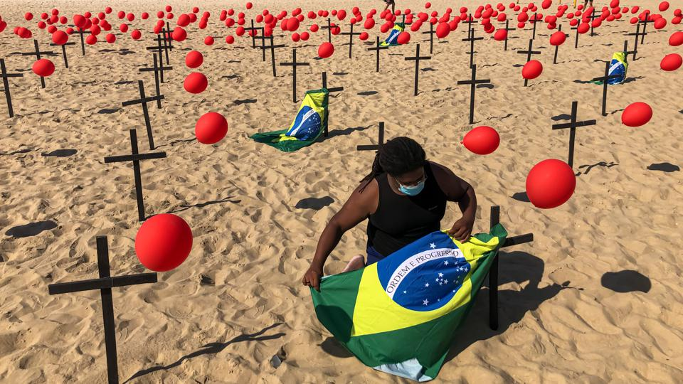 Rio de Paz NGO Pays Homage to the 100,000 Fatal Victims of Coronavirus (COVID - 19) in Brazil at Copacabana Beach