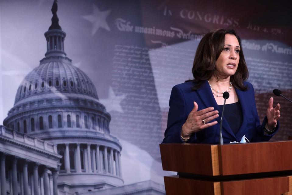 WASHINGTON, DC - JUNE 23:  U.S. Sen. Kamala Harris (D-CA), one of the mothers on Democratic nominee Joe Biden's list for vice president. (Photo by Alex Wong/Getty Images)