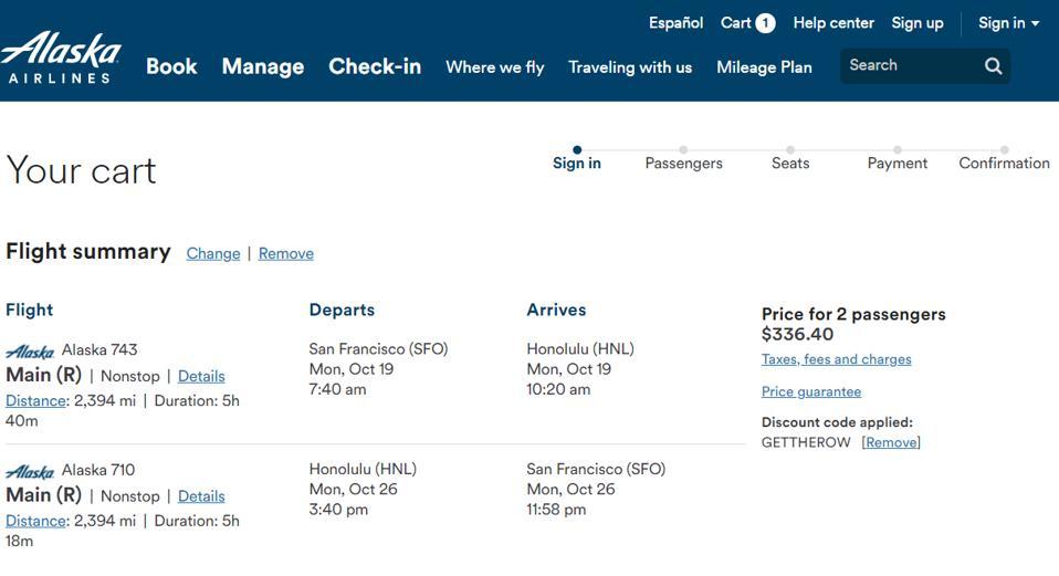 alaska airlines fares