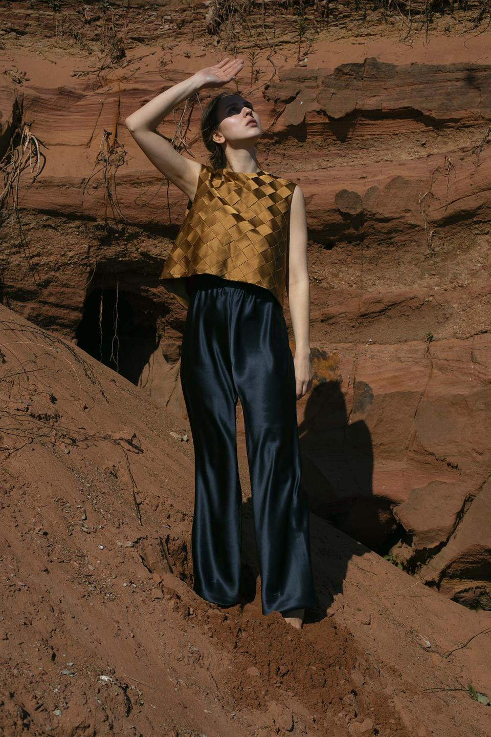 Bronze silk woven top and navy trousers from Chapter II by Hanna Fiedler