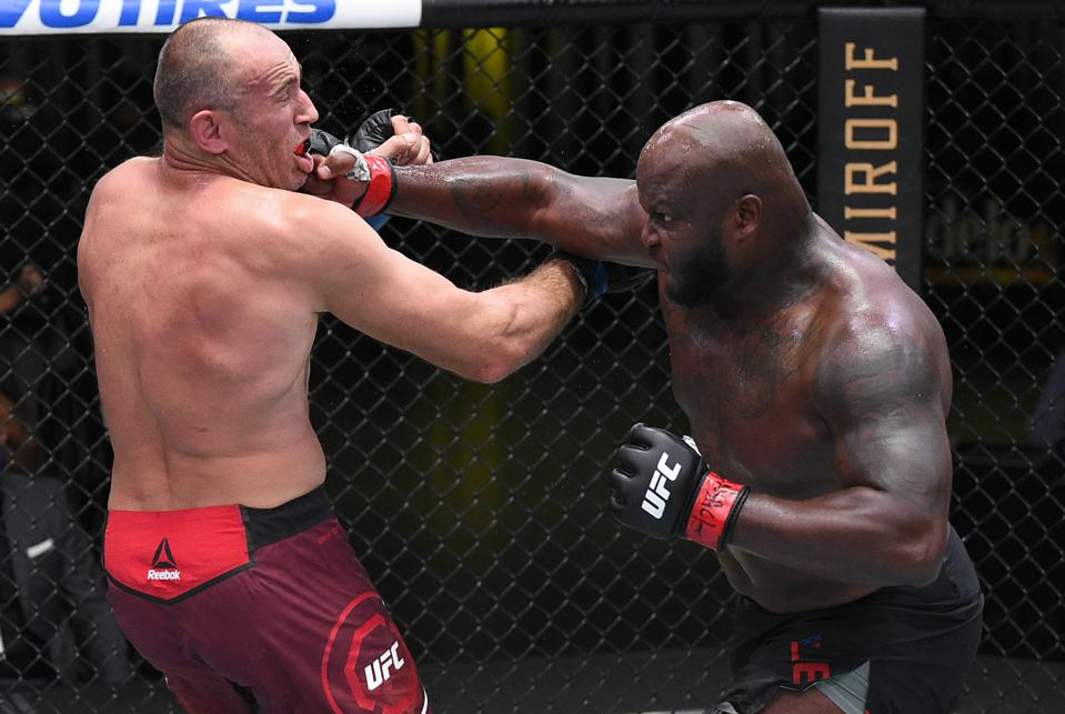 Derrick Lewis scored a second-round knockout win over Aleksei Oleinik in the main event of UFC on ESPN+ 32.