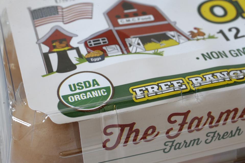 USDA Organic label on a carton of a dozen eggs. AP Photo/Steven Senne