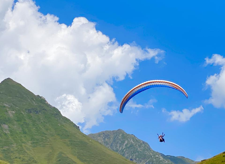 Paragliding above the town of Barèges