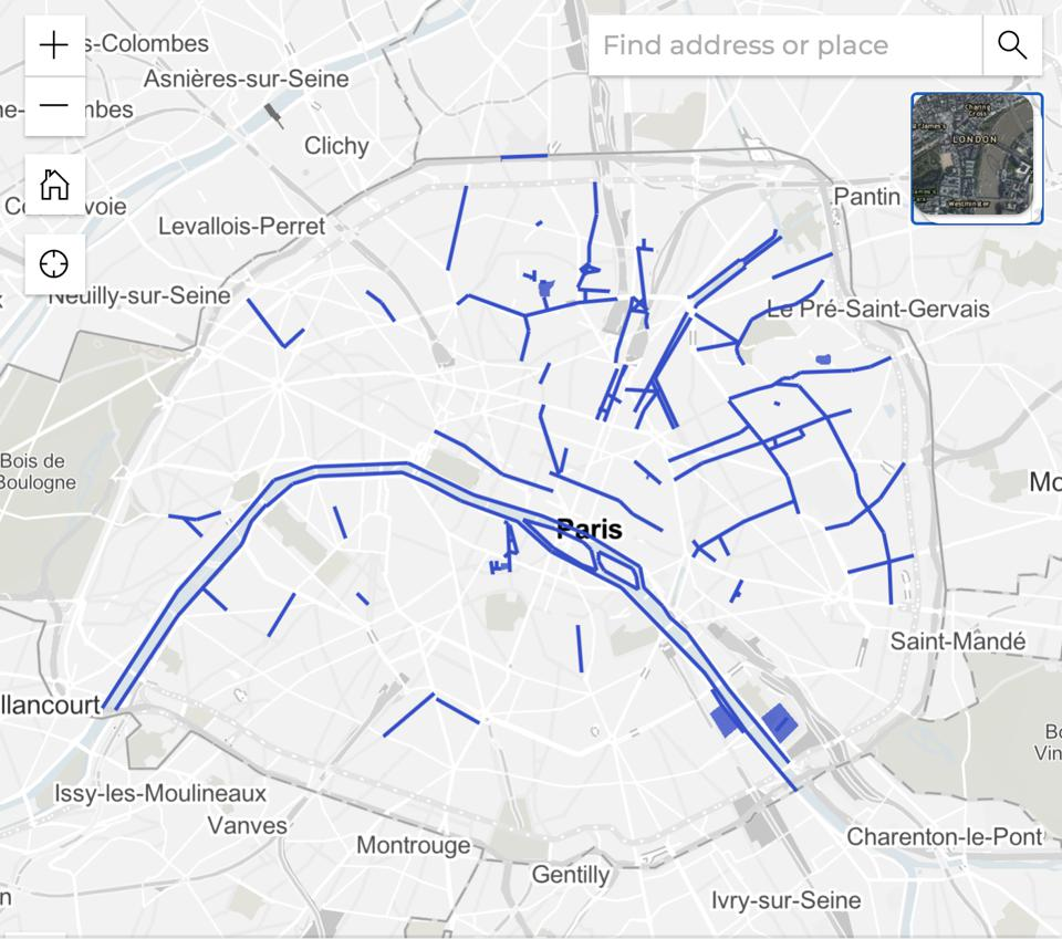 a map of the city areas where masks are now mandatory in outdoor places in Paris France