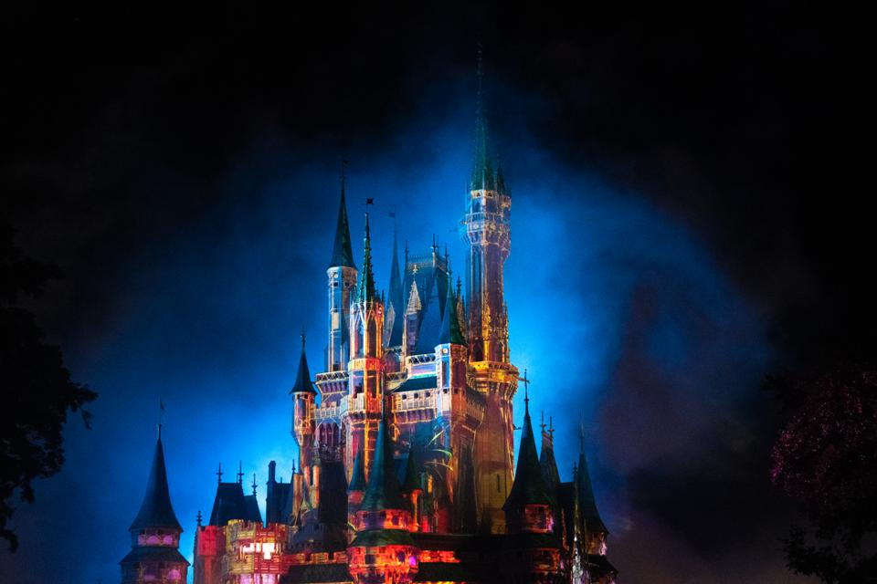 Intense multi colored strobe lights illuminating the...