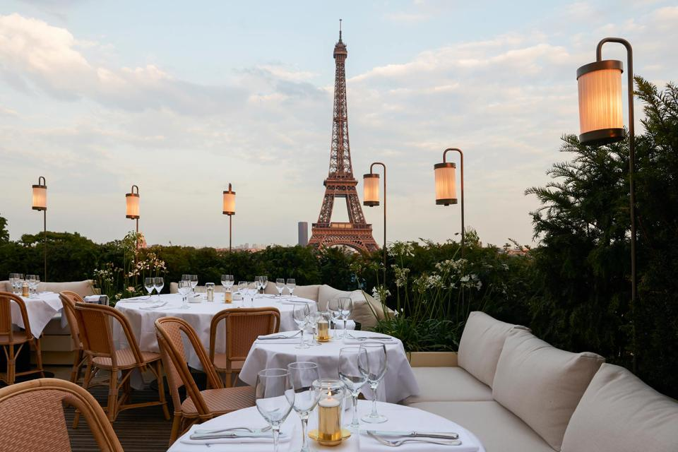 Girafe Restaurant terrace and the Eiffel Tower view in Paris.