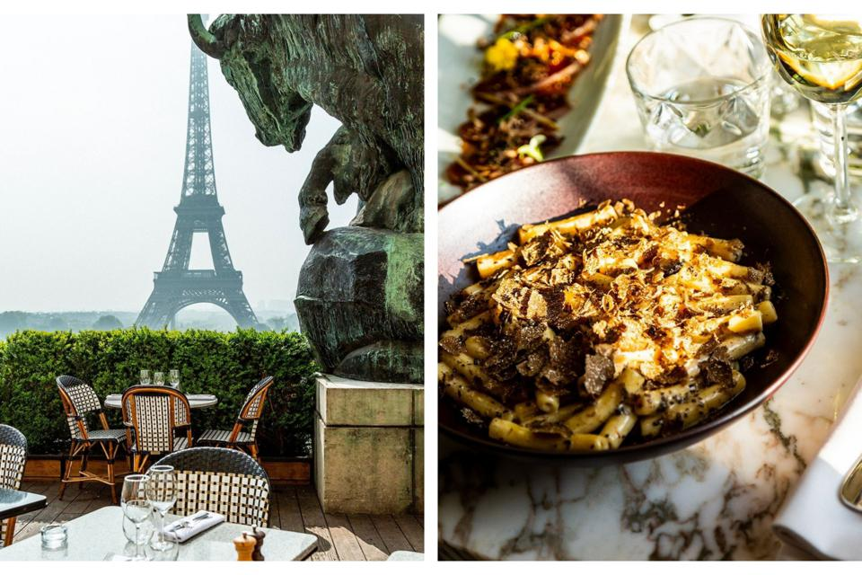 The Eiffel Tower view at the Café de l'Homme restaurant in Paris and truffle pasta.