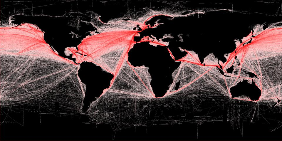 Satellite imagery reveals a 400% increase in shipping in the past 20 years
