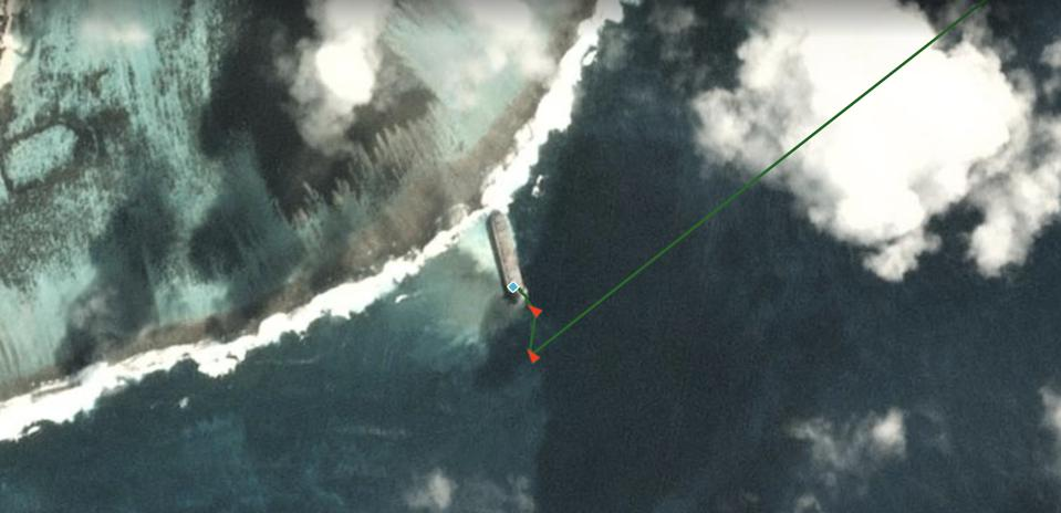 Combining AIS data with satellite imagery can reveal the historic trajectory of the vessel, in this case the MV Wakashio on 28 July 2020