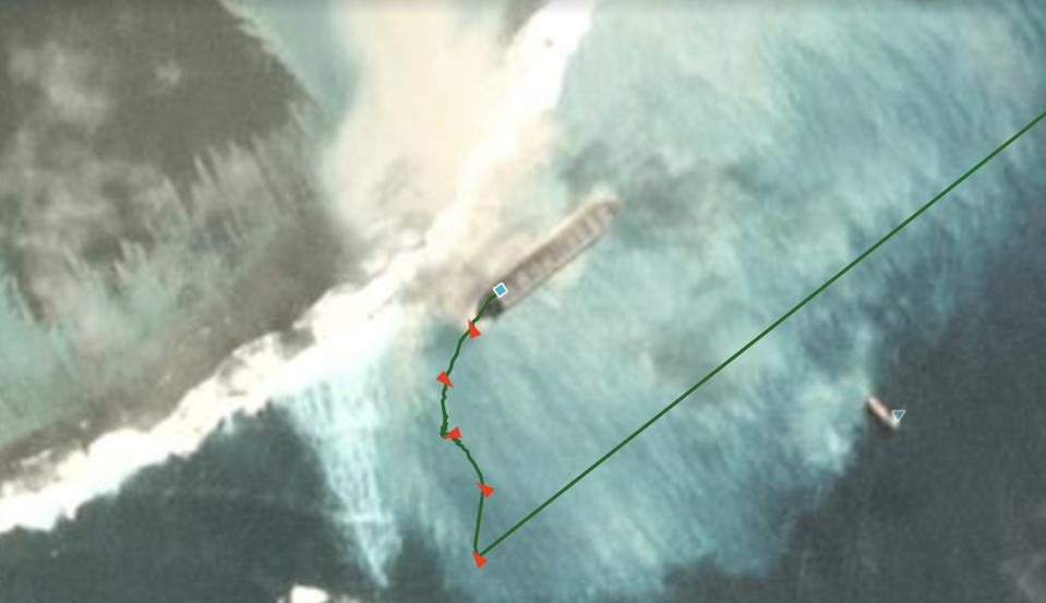 Satellite and AIS data combined reveal efforts to recover the 'MV Wakashio' by Tug Boat 'Stanford Hawk' on August 1st