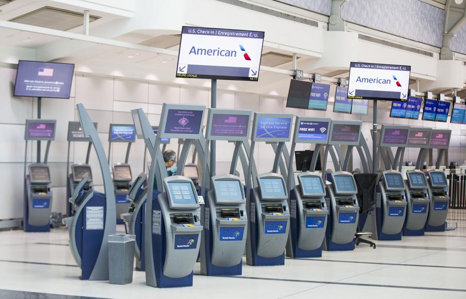 Toronto Airport Canada empty U.S. check in as borders close for Americans due to Covid