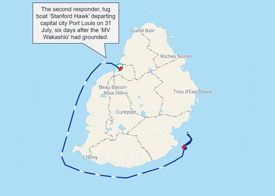 Satellite data reveals that second responder, tug boat the 'Stanford Hawk,' departed capital city Port Louis on the 31 July for the stranded 'MV Wakashio,' six days after it had been grounded.